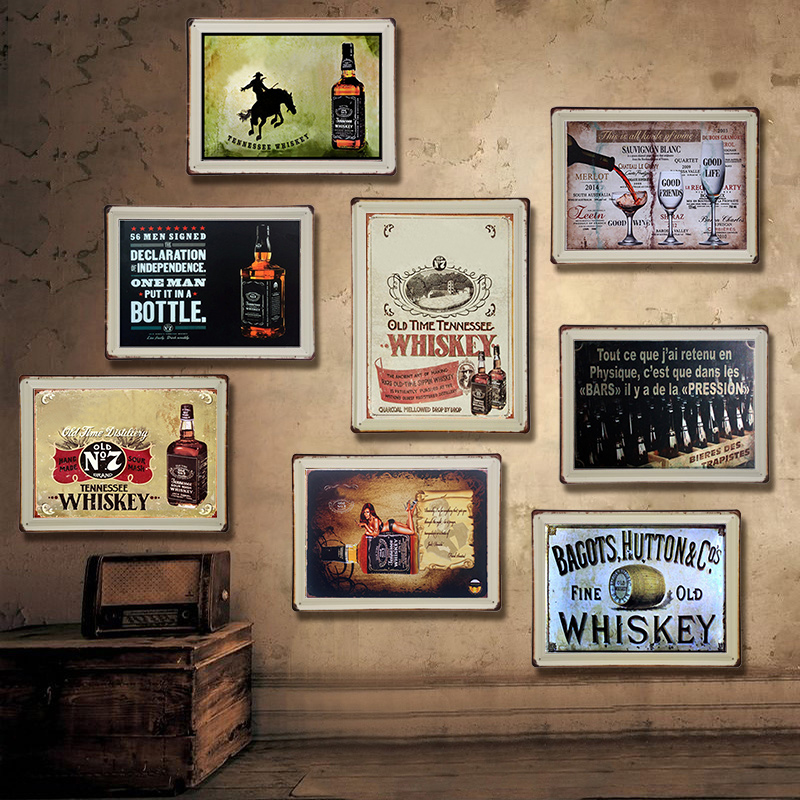 American Whisky Vintage Tin Sign Bar Pub Home Wall Decor Retro Metal Art Beer Coffee Poster Plate 1001(43)