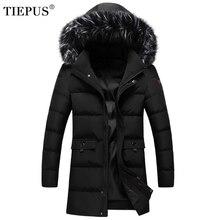 TIEPUS Новый пуховик для мужчин сплошной цвет меховой воротник пальто женское с капюшоном парка зимнее пальто плюс размеры M ~ 5XL, 6XL, 7XL, 8XL