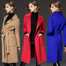 Autumn Winter Women Fashion Long Sleeve Belt Elegant Woolen Coat Loose Large Size Women's Clothing