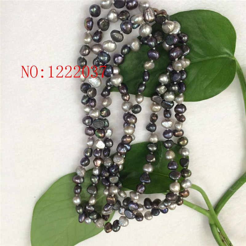 Natural freshwater  pearls irregular shaped baroque 6-7MM necklaces gray black  multicolor long sweater chain 50 ""