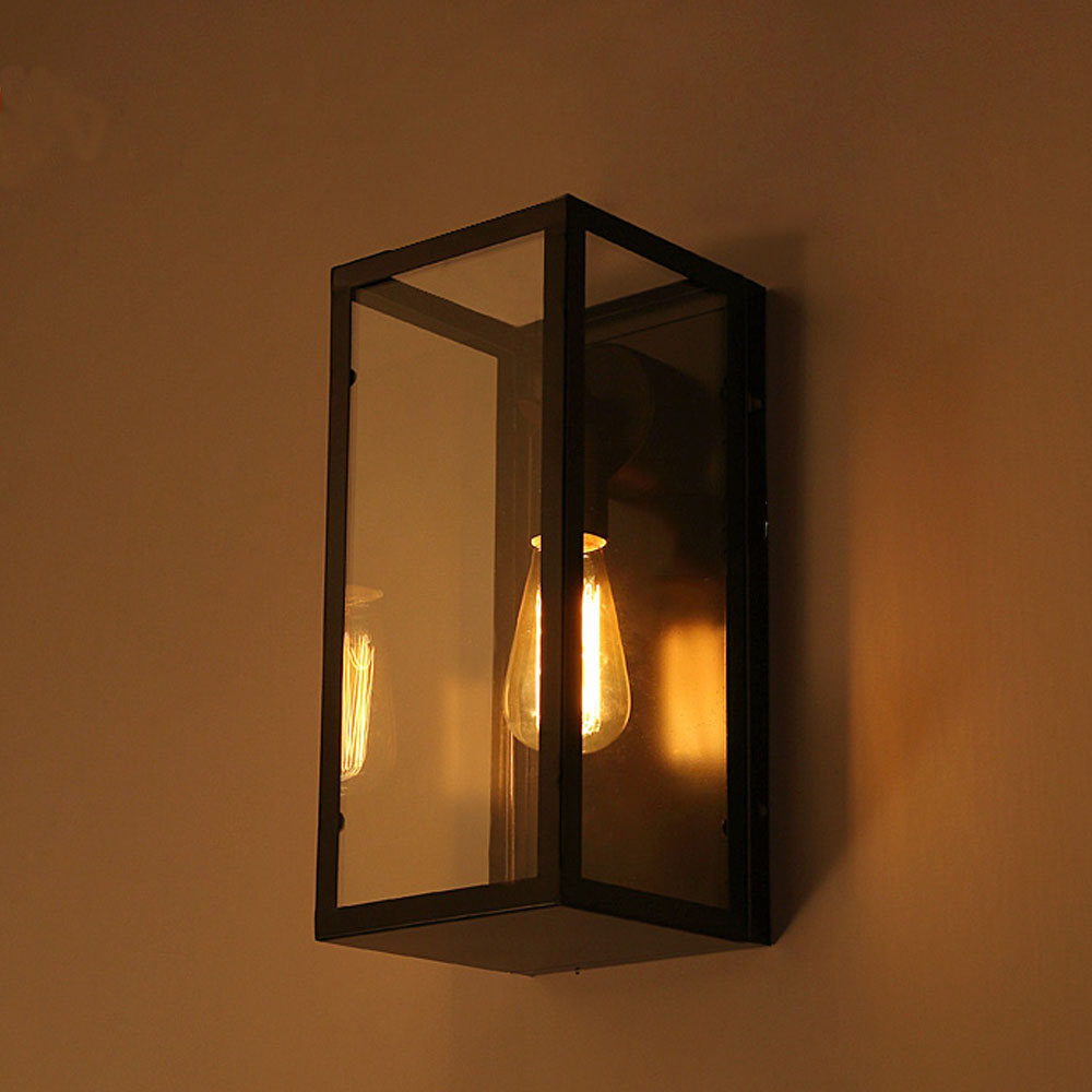 цены JiFengCheng Nordic Retro Simple Glass Box Wall Lamp Decoration Living Room Aisle Restaurant Bar Wall-mounted Bedside Iron Lamp
