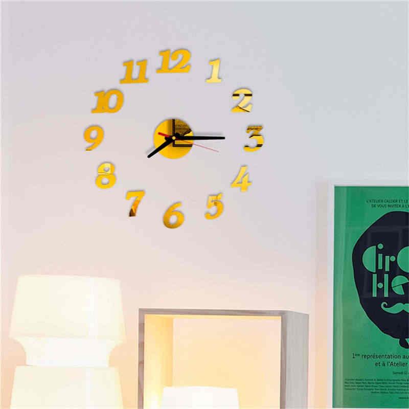 40 cm PVC עצמי דבק כסף DIY 3D DIY רומי מספרי אקריליק מראה קיר מדבקת שעון בית תפאורה שמח קידום מתנות 19Apr1