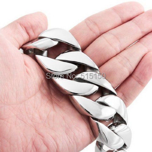 "8.46"" 26mm Width Huge 316L stainless steel curb cuban link bracelet chain Men's heavy Jewelry 26mm*21.5cm silver Color"