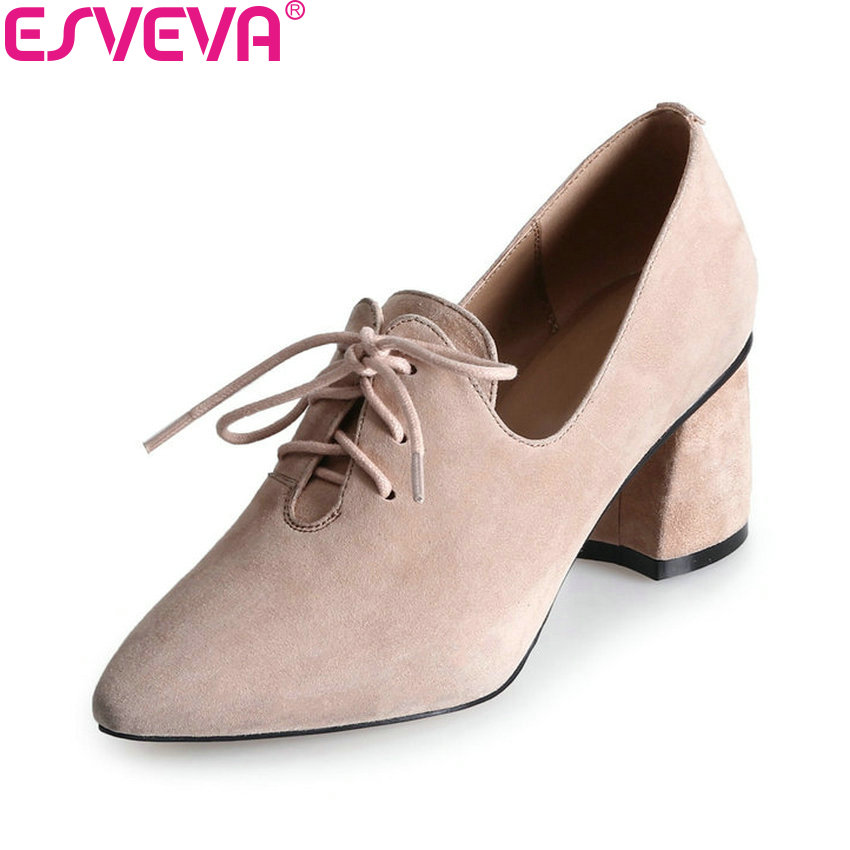 ESVEVA 2018 Lace Up Women Pumps Shoes Square High Heels Pointed Toe Kid Suede PU Western Style Pumps Ladies Shoes Size 34-39 esveva 2018 women pumps rivets western style lace up square low heel pumps casual pointed toe spring autumn shoes size 34 43