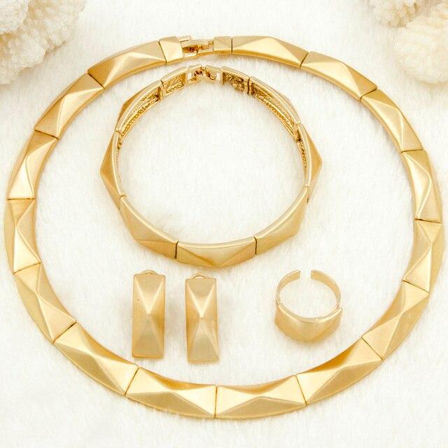 2017 AAAAA Dubai Africa Fashion Gold Jewelry Set Dubai Lady Gold Necklace Ring Earrings Bride Wedding Jewelry Set