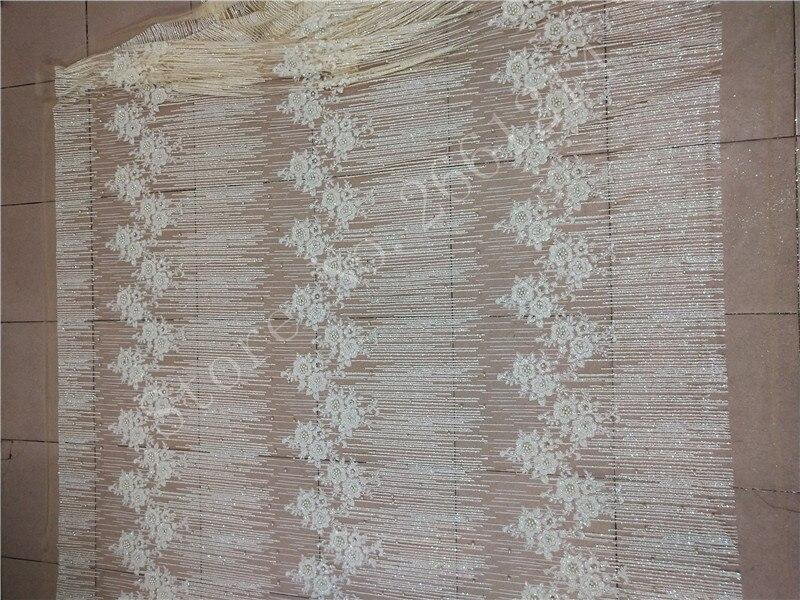 Ev ve Bahçe'ten Kumaş'de Yapıştırılmış glitter tül örgü kumaş yapıştırılmış glitter sequins dantel kumaş BZL 91107 parti elbise için boncuk ile krem beyaz renk'da  Grup 2