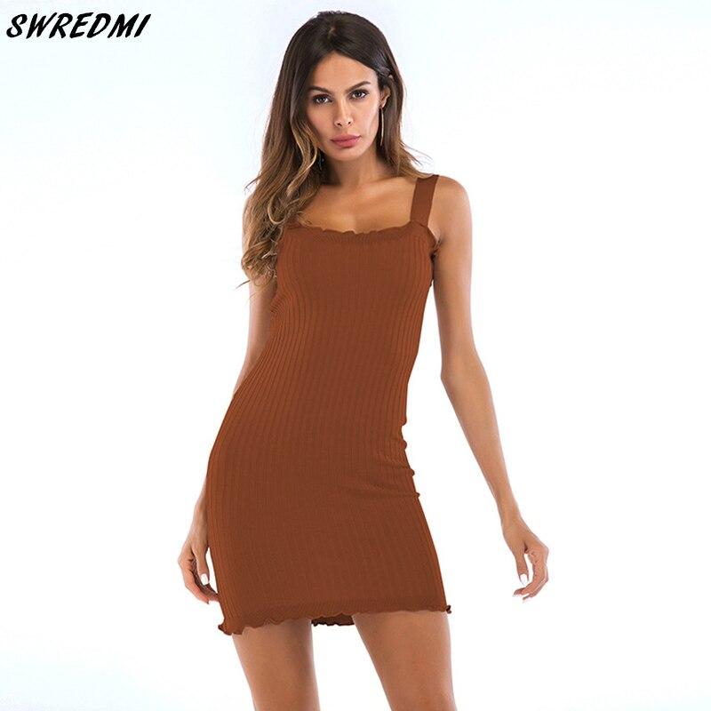 SWREDMI Summer Slim Sexy Dress Sheath Solid Sleeveless ...