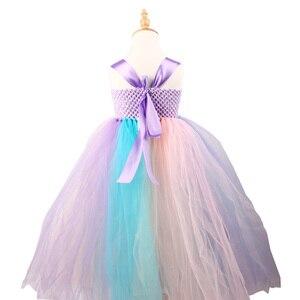 Image 4 - Girls Flower Unicorn Tutu Dress with Headband Pastel Rainbow Dress for Children Pageant Birthday Party Clothing Fairy Costume