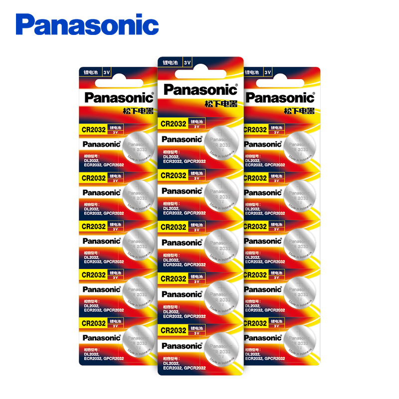 <font><b>Panasonic</b></font> 15Pcs/Lot CR2032 Button Battery 20mm*3.2mm 3V Lithium Button Coin Cell Watch Batteries for Watch Computer CR <font><b>2032</b></font> image