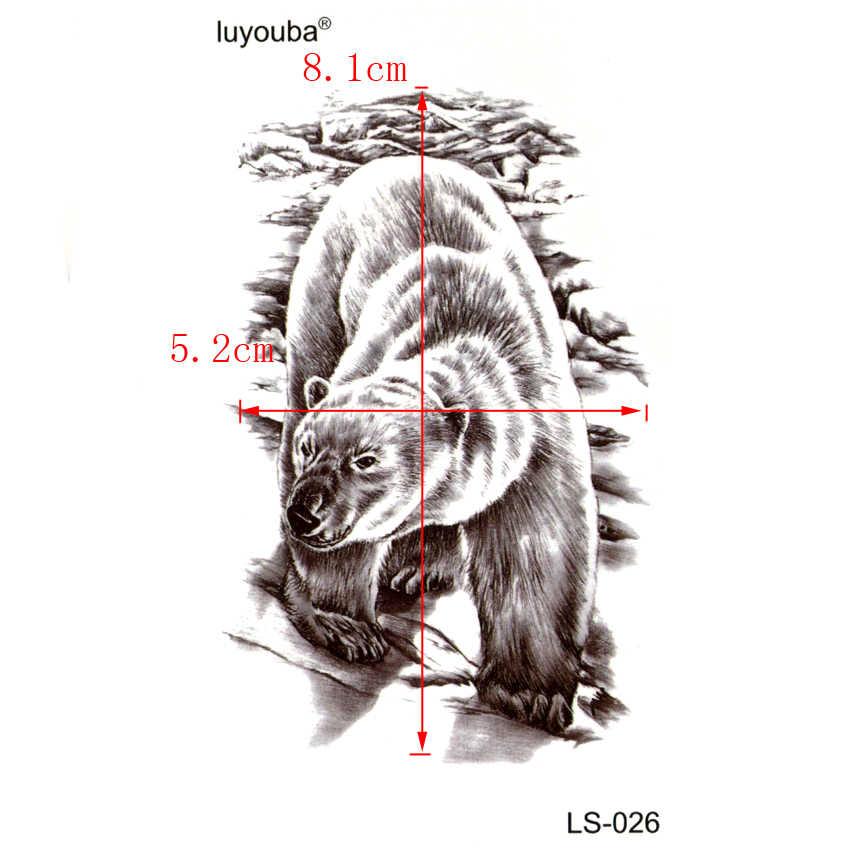 หมีขั้วโลกกันน้ำรอยสักชั่วคราวผู้ชายน่ารักสัตว์ฮาราจูกุtatooแขนแฟลชสติ๊กเกอร์สักt atuajesชั่วคราวtatooผู้ชาย