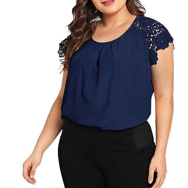 Plus Size Blouse Fashion Women Solid O-Neck Floral Shirt Women Lace Shoulder Shirt Tops Blouse Large Size Loose Tops 4