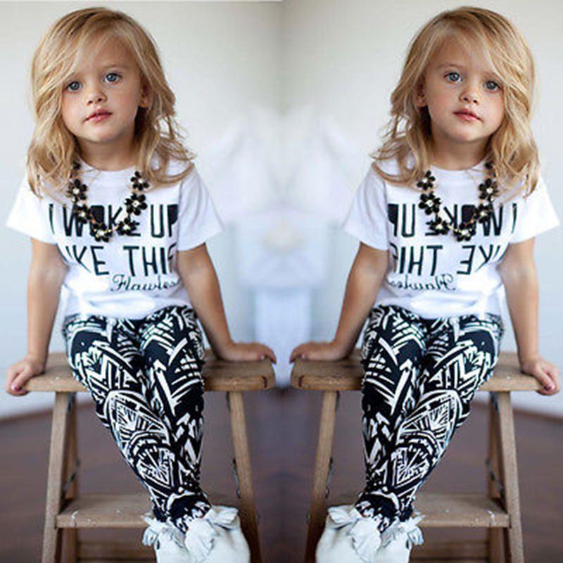 Roupa Dos Miúdos do algodão 1 2 3 4 5 5 6 7 8 Ano Meninas do Verão Ternos 2019 Novo Curta- mangas compridas T-Shirt Longo Da Calça Crianças Conjunto de Roupas