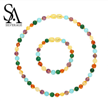 SA SILVERAGE Natural Amber Round Ball Ne...