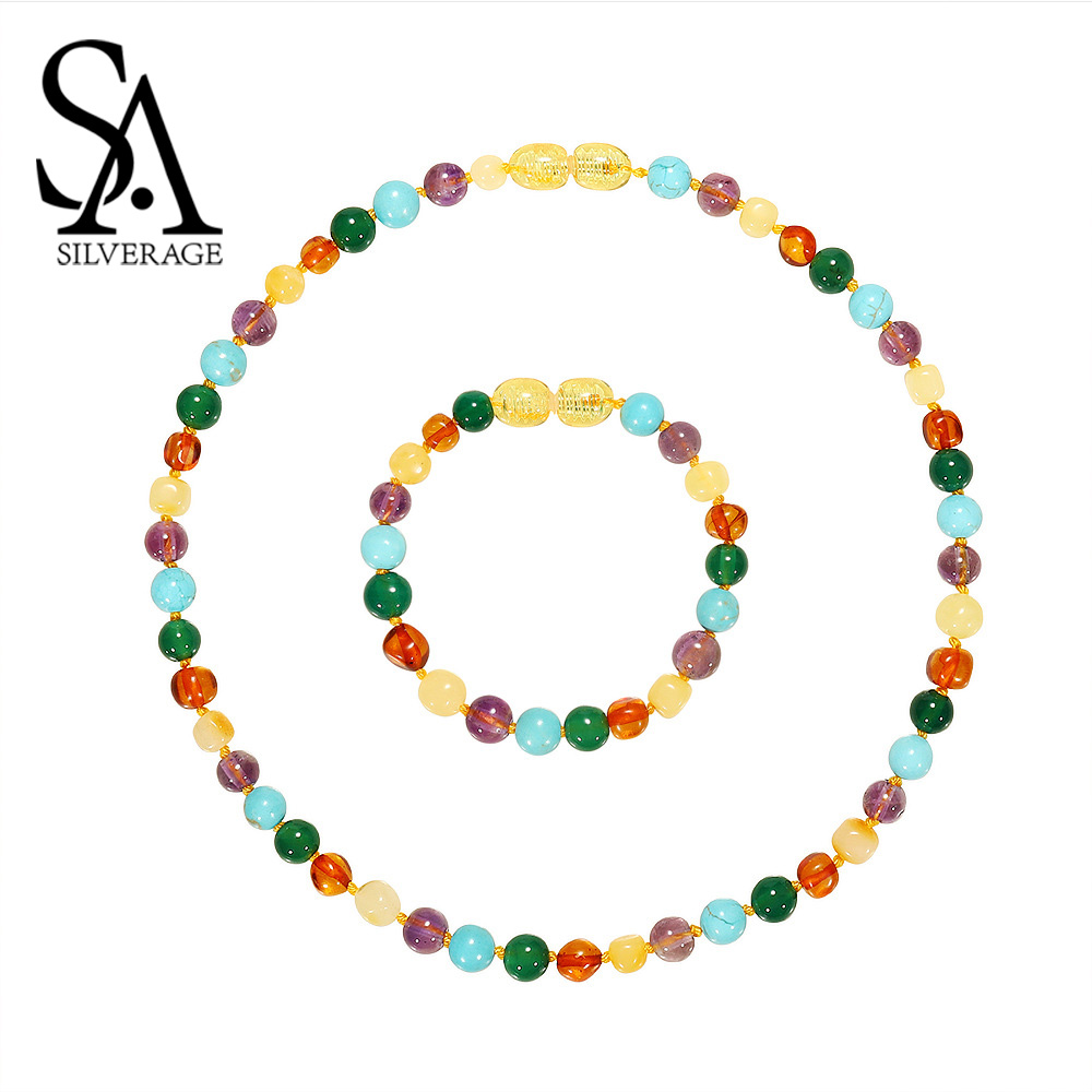 SA SILVERAGE Natural Amber Round Ball New Chain Necklaces for Woman Fine Jewelry Adult Beads Necklace Women Multicolor Necklaces