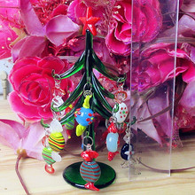 Custom Hand Blown 15cm Glass Christmas tree Figurines 12pcs decorative colorful glass candy sculpture Pendant Gifts