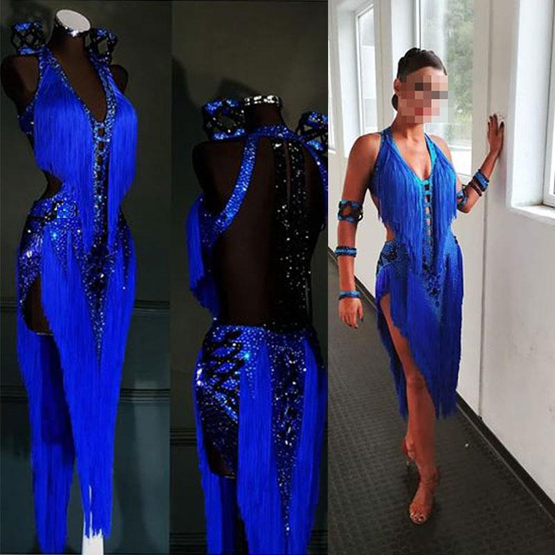 Latin Dance Dress Women Blue Backless Dance Latin Dress Ballroom Latin Rumba Samba Chacha Tassel Dance Dress  라틴댄스복 юбка латина