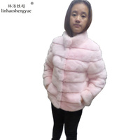 Length 60CM Lady Fur Real Mink Coat