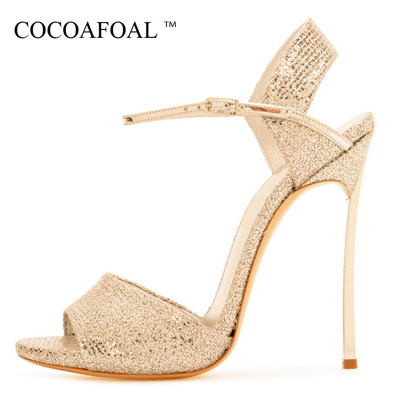 COCOAFOAL Women Gold Open Toe Sandals Plus Size 33 43 Gladiator Bridal Shoes Party Sexy Bling Silver Heel Height Wedding Sandals цена