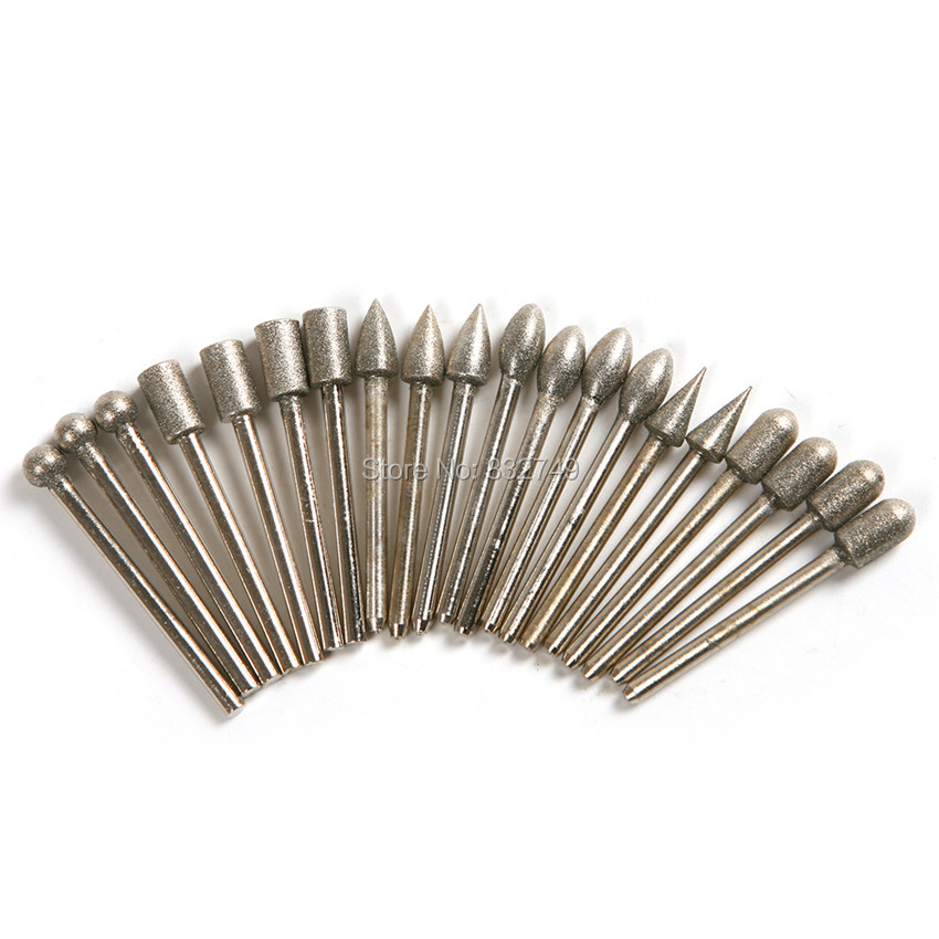 Free Shipping 20 PCS / Set Diamond Grinding Burr Drill Bits Sets Head Drill Bits 3mm Shank For Dremel Rotary Tool Drilling