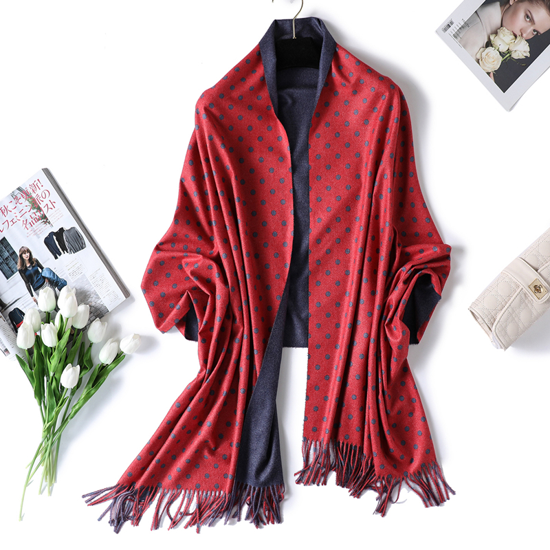2019 new winter women scarf fasion dot long size warm cashmere scarves for lady shawls and wraps thick soft pashmina bandana
