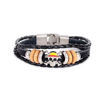 Anime One Piece Leather Bracelet Bangle | Handmade