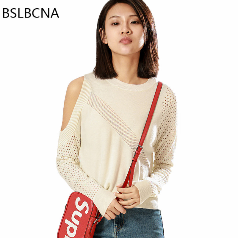 2019 New European O-neck Clothes Sweater Women Knitwear Casual Hollow Out Pullover Sexy Woman Tops Long Sleeves Sweaters A177 thumbnail