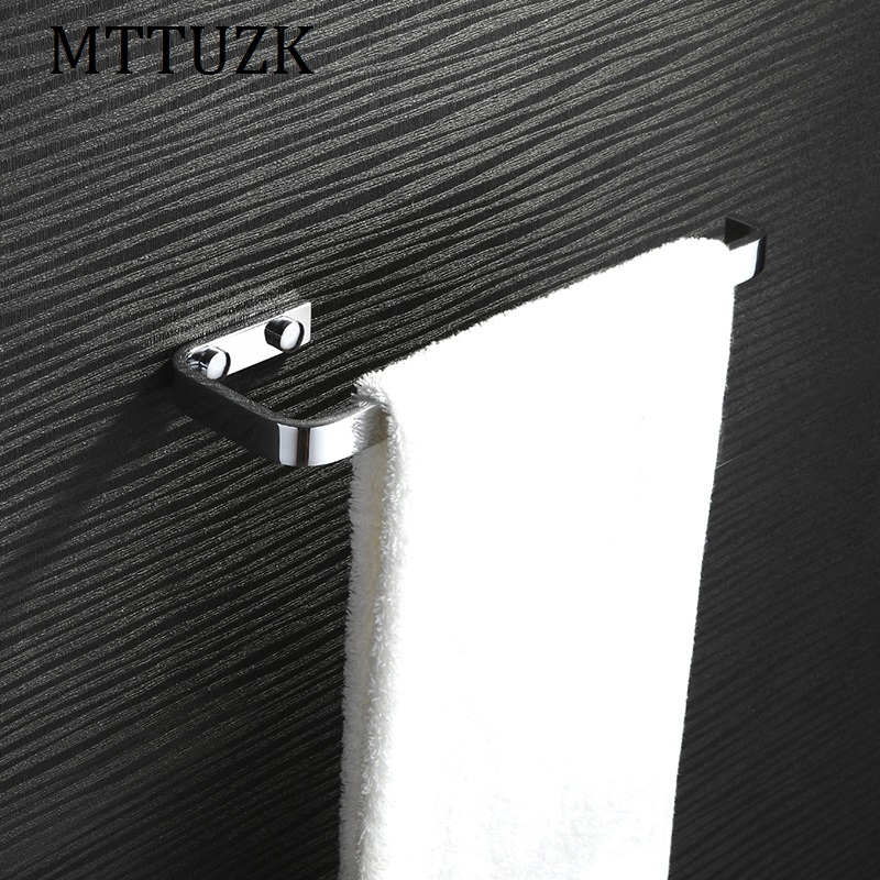 MTTUZK Free shipping Bathroom towel bar all copper towel bar towel rack single rod square Towel hanging toalha bar lengthened thickening bathroom towel bar single lever rack free nail