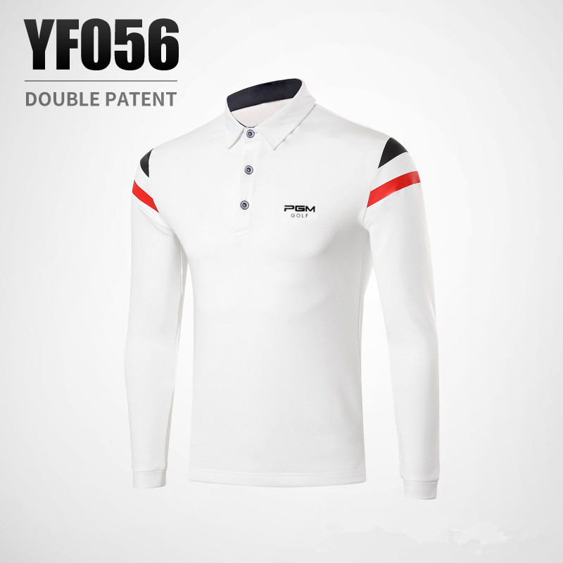 PGM Spring autumn mens Quick Dry Breathable elastic Long Sleeved Golf T-shirt Button collar Stripe decoration Golf Polo Shirt