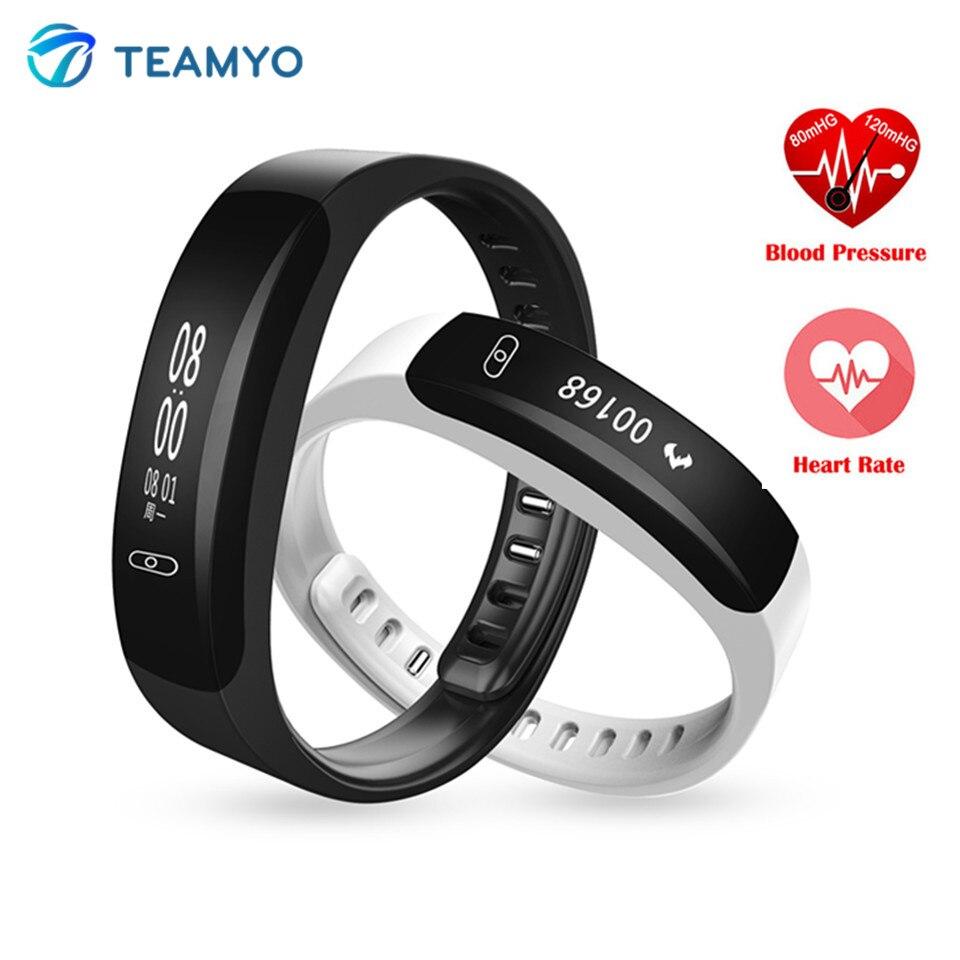 imágenes para Teamyo k8 inteligente a prueba de agua banda de frecuencia cardiaca monitor de presión arterial reloj gimnasio rastreador pulsera inteligente whatsapp facebook notificar