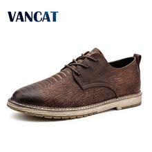 Vancat Brand New Crocodile Pattern Leather Men's Shoes Italian casual Shoes Men Business Fashion Men Flat Shoes Plus Size 38-47