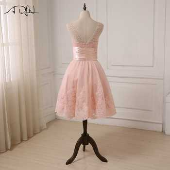 ADLN Cheap Pink Cocktail Dresses Cap Sleeve Applique Pearls Girls Short Party Gowns Zipper Up Back Customized Deisgner
