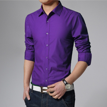 2018 Men's Long-sleeved Shirts 17 Colors Choose 2XL 3XL Fashion Business Wedding Banquet Man Shirt Slim Elegant and Comfortable 1
