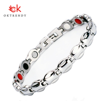 Oktrendy Energy Healing Bracelet Stainless Steel Magnetic Therapy Bracelets For Women Office Charm