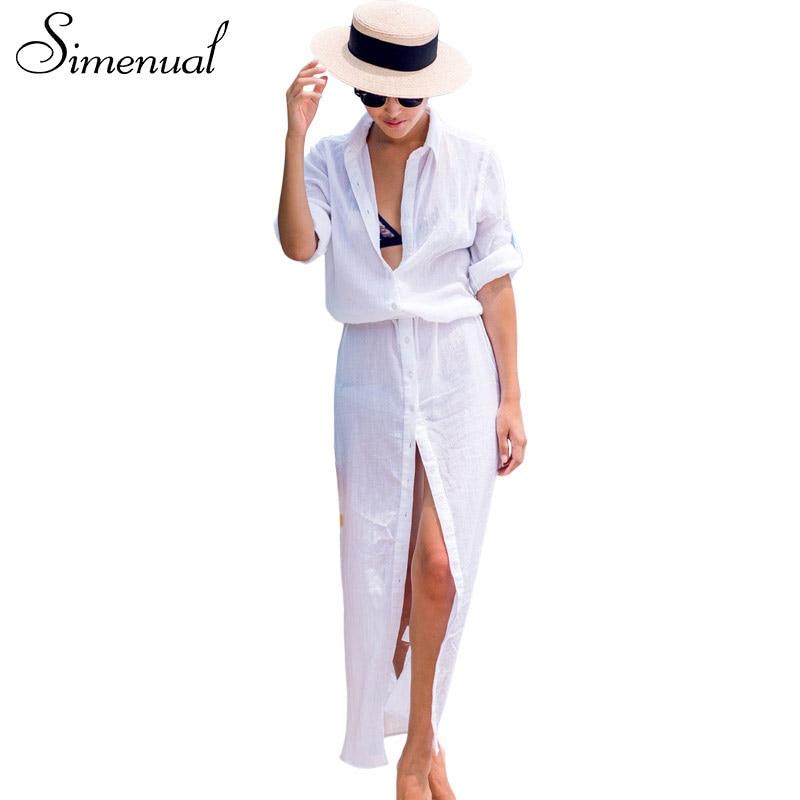 Simenual BOHO white shirt long dress beachwear casual long sleeve sexy hot summer beach maxi dresses women buttons pareos output