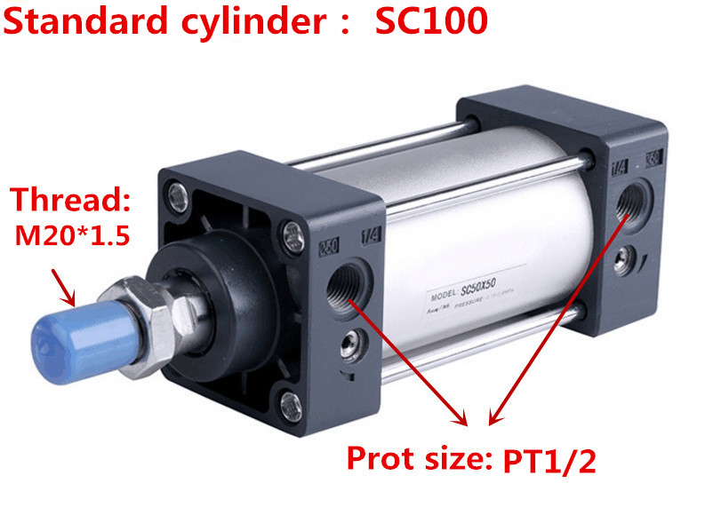 Free shipping high-quality AirTAC type SC100 series bore 25mm to 1000mm stroke Standard cylinder air pneumatic cylinder original airtac standard cylinder jsi series jsi63x160s