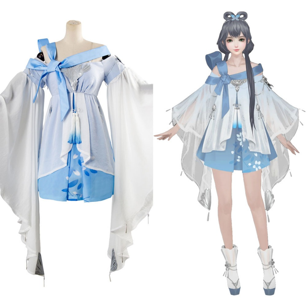 Vocaloid Vsinger Blue Dress Cosplay Costume Full set