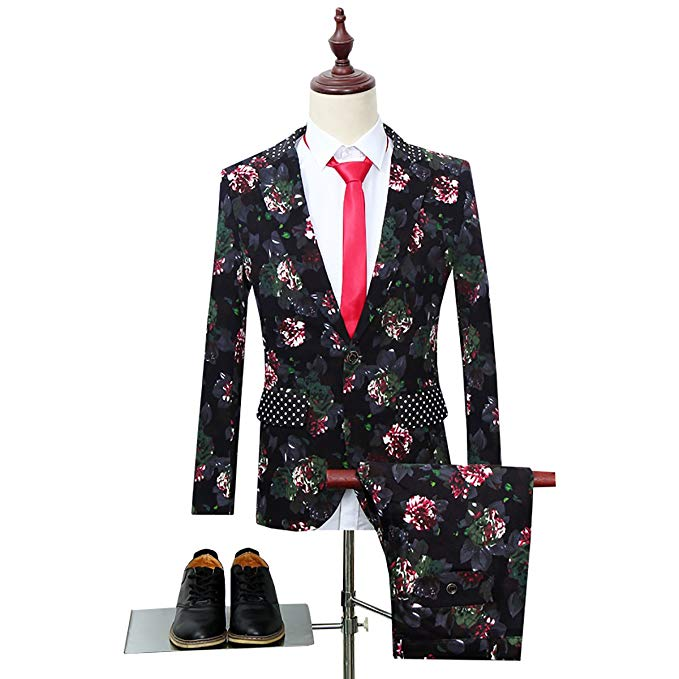 2019 Mens  Suit Notched Lapel Floral One Button Slim Fit Tweed Prom Suit Groom Tuxedo (jacket+pant)2PCS Terno Masculino