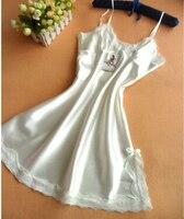 Лидер продаж 2016 г. летние пикантные Ночное платье для женщин шелковые слипы дамы кружево пижамы