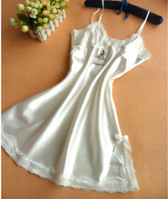 HOT 2016 summer  sexy night dress women silk slips ladies lace slip sleepwear
