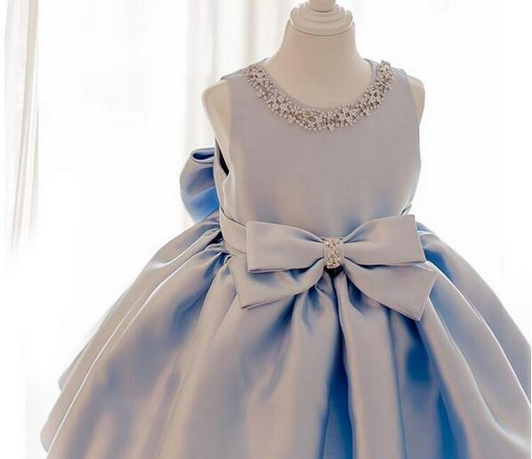 2017 Sky Blue tulle Princess Girl Party Dresses Diamonds Big Bow Wedding Dress for Christmas Kids Birthday clothes 12M-12Y hot sale white princess girl party birthday dresses tutu wedding dress for christmas with handmade flowers and big bow 12m 12y