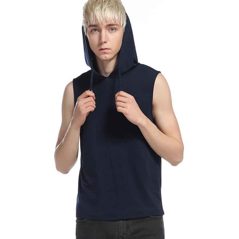 snowshine YLI Mens Summer Casual T-Shirt Sleeveless Hooded Cap Vest Hoodie Tank Tops