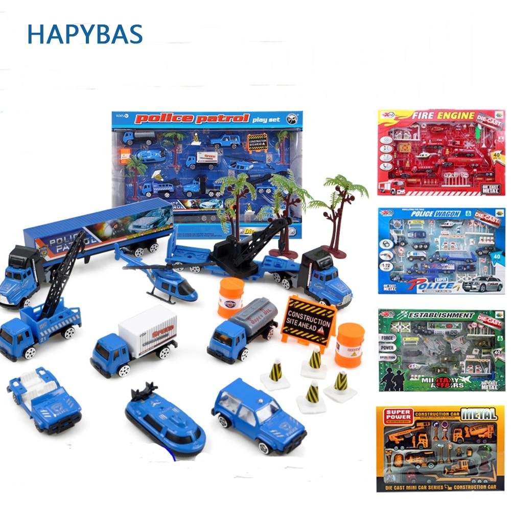 1: 64 costruzione in lega auto della polizia camion set forza di combattimento mighty salvataggio Modello Classico Giocattolo modellini auto play set regalo dei capretti