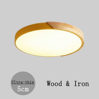DAR 5cm Ultra Thin Round Ceiling Lamp Fixtures Iron+Wood Modern Bedroom Living Room Home Lighting Lustre Led Lamparas De Techo