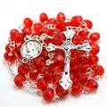 Católica rosario rojo azul color crystal bead rosario católico collar del rosario