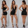 2016 New Women Bodycon Jumpsuit Strap Backless Sleeveless Deep V-neck Short Romper