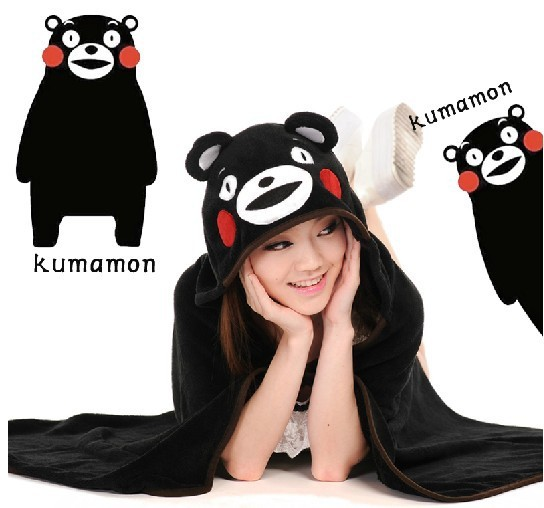 Kumamoto KUMAMON house people shawl blanket coral velvet cloak cape air conditioning poncho