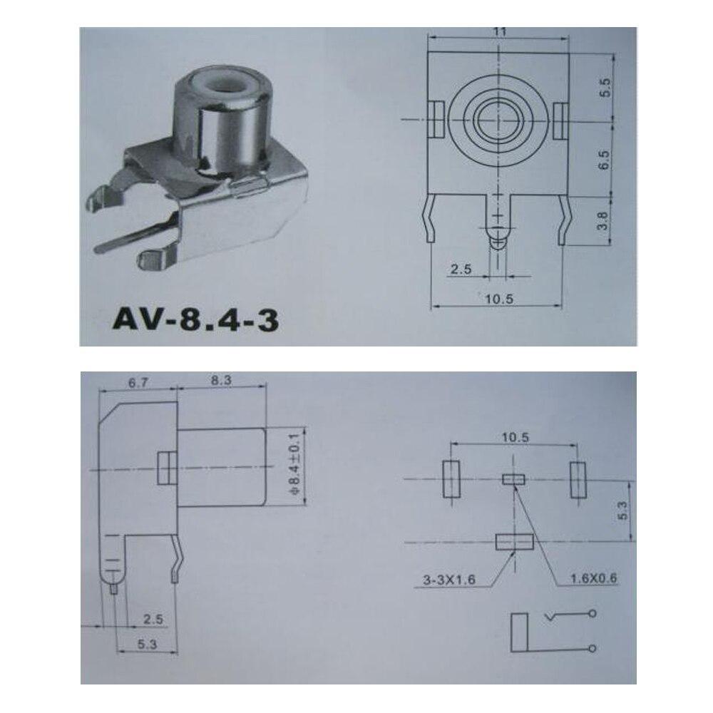 15pcs AV 8.4 3 AV Pin Jack RCA Female Audio Video AV Socket ...