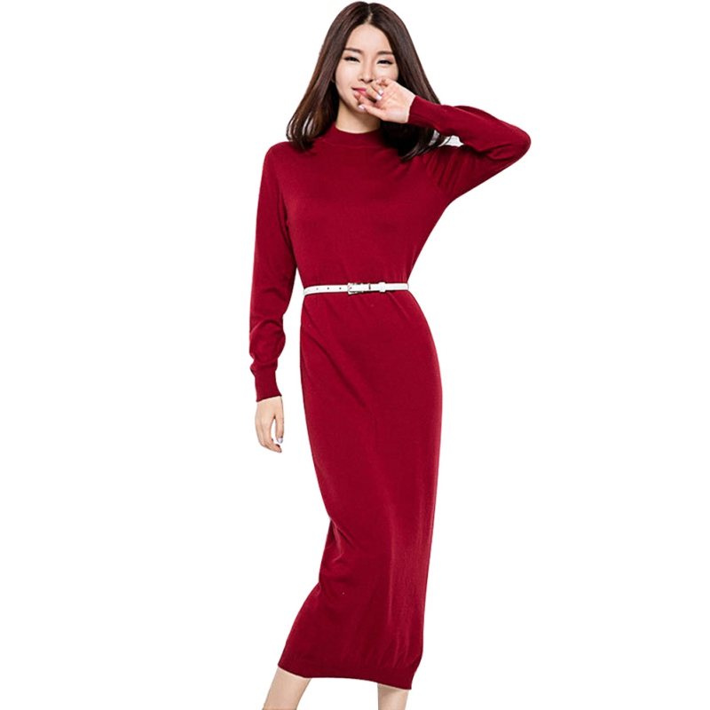 2017 new autumn and winter sexy long dress soft feminine with long collar cashmere sweater female knitted pullovers