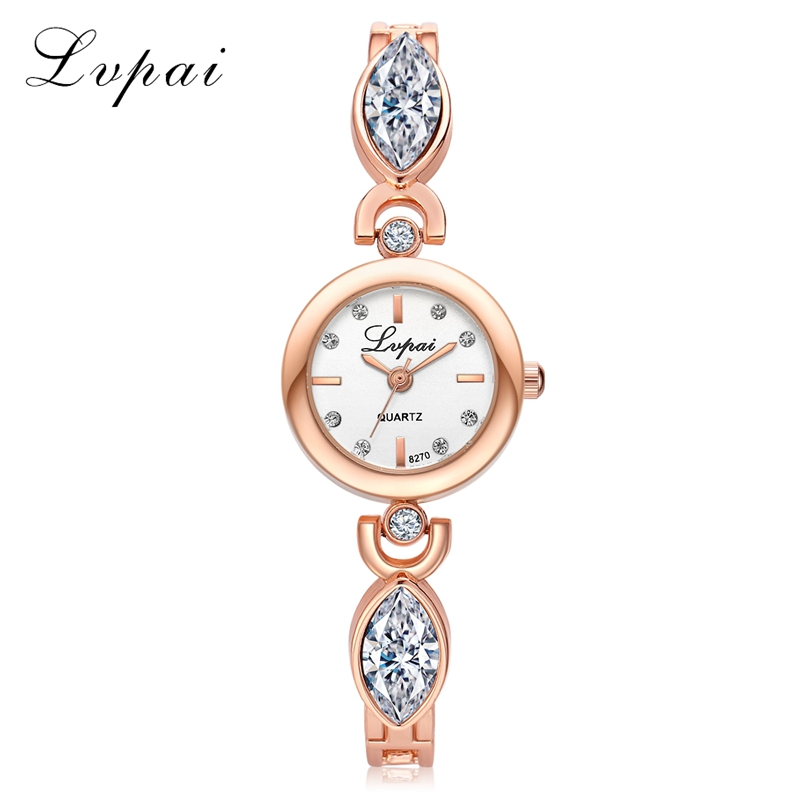 купить 2017 Lvpai Luxury Brand Women Bangle Watch Dress Watch Lady Gold Rhinestone Quartz WristWatches Bracelet Watch Women Gift Clock по цене 189.71 рублей