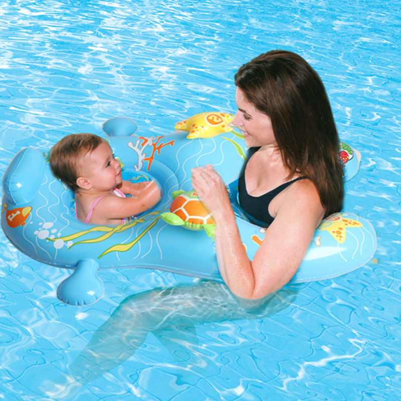 110*83cm Baby-Mother Double Swimming Ring Safe Seat Blue Cartoon Pattern Inflatable Floating Row Raft For Infant Adult Water Toy